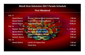 Mardi Gras parade schedule 1st weekend