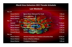 Mardi Gras parade schedule 2nd weekend