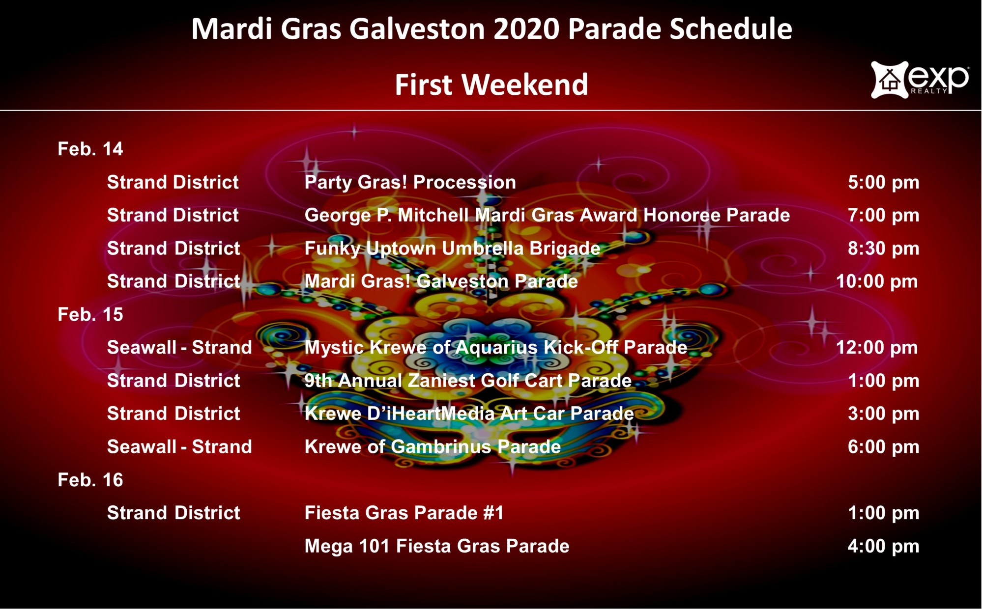 Mardi Gras First Weekend parade schedule
